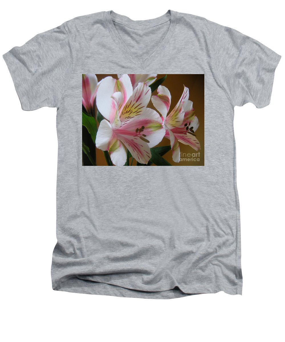 Nature Men's V-Neck T-Shirt featuring the photograph Alstroemerias - Listening by Lucyna A M Green