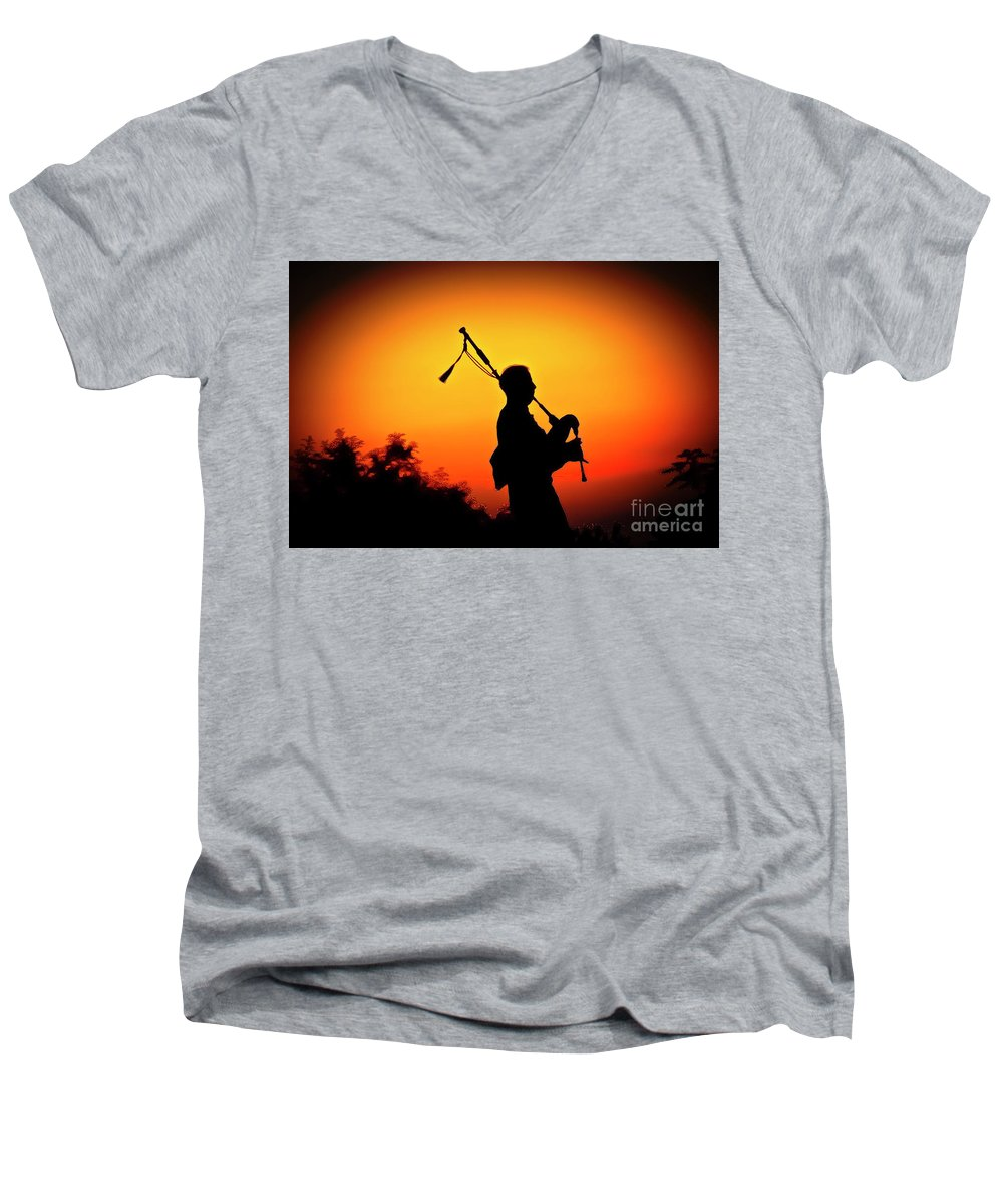 Sunset Men's V-Neck T-Shirt featuring the photograph Amazing Grace by Jim Cazel