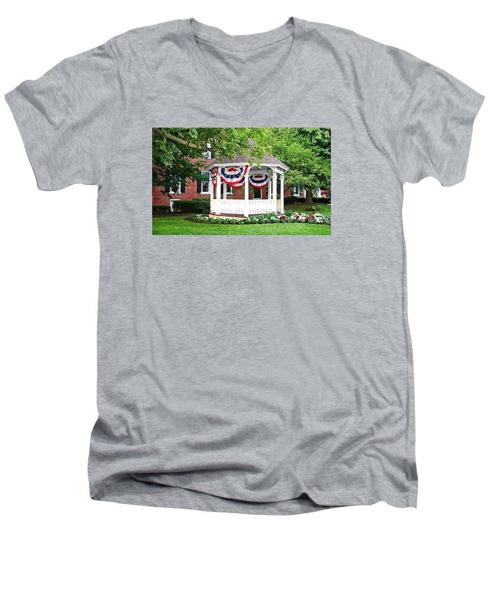 Gazebo Men's V-Neck T-Shirt featuring the photograph American Gazebo by Margie Wildblood