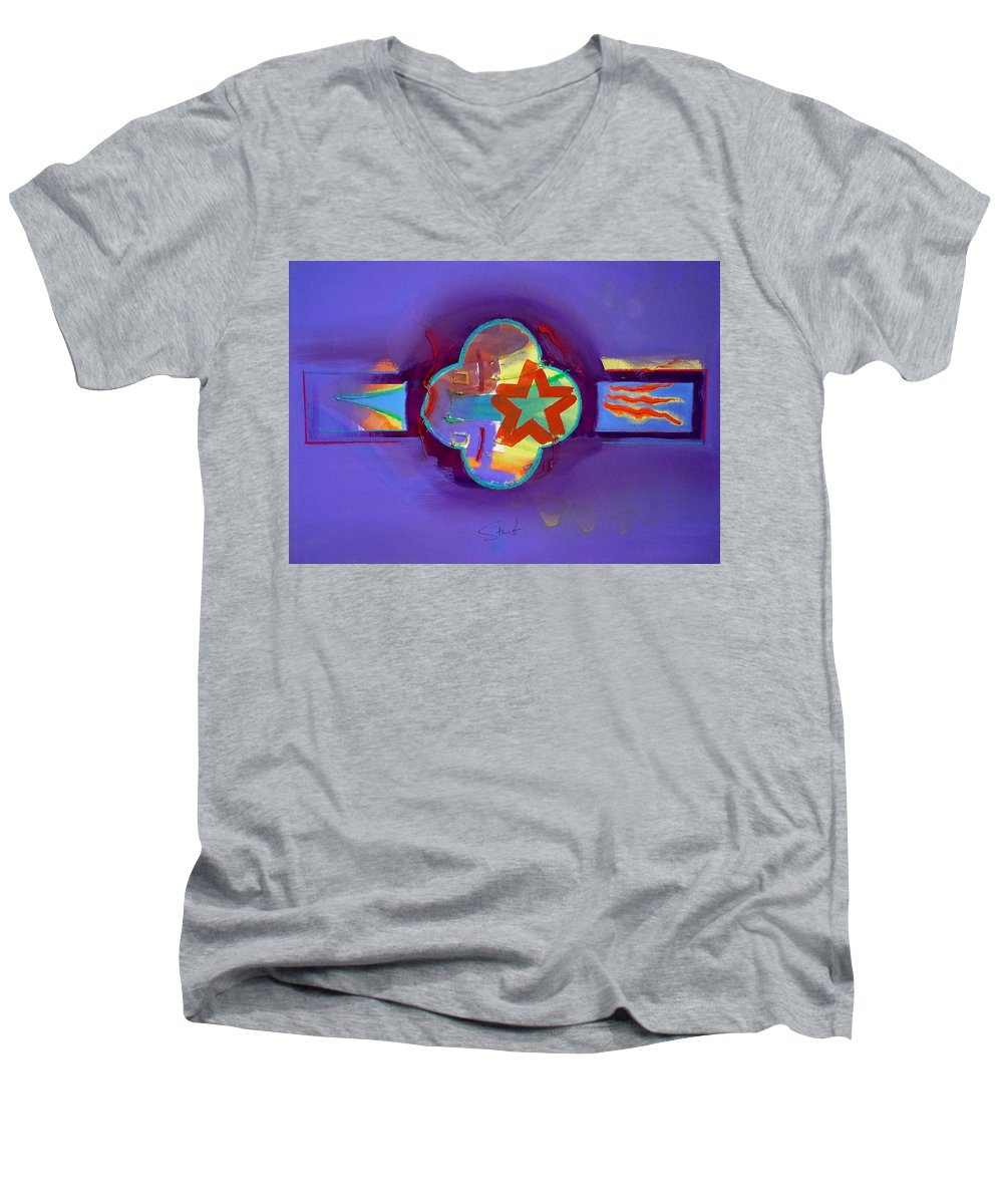 Star Men's V-Neck T-Shirt featuring the painting American Neon by Charles Stuart