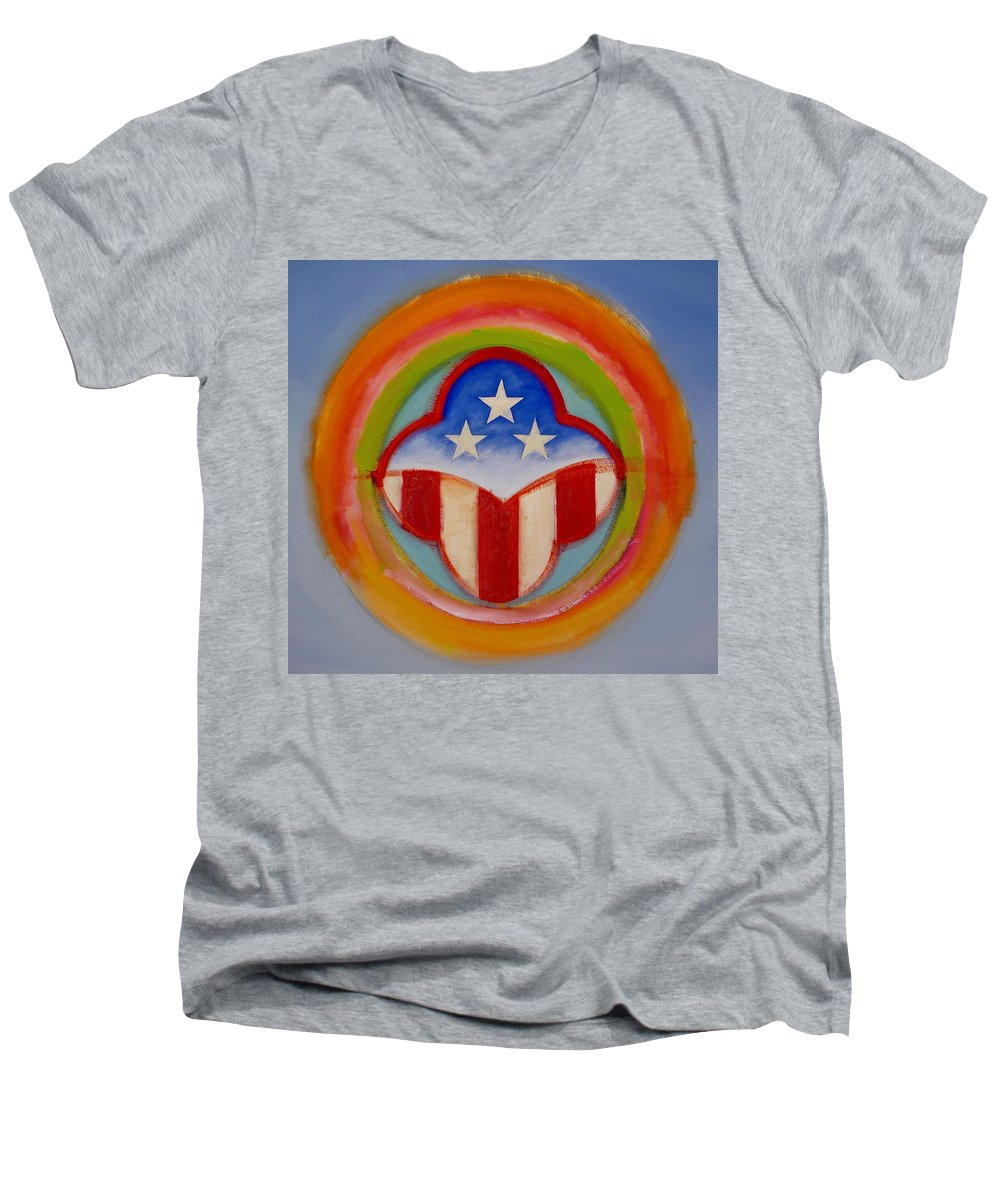 Logo Men's V-Neck T-Shirt featuring the painting American Three Star Landscape by Charles Stuart