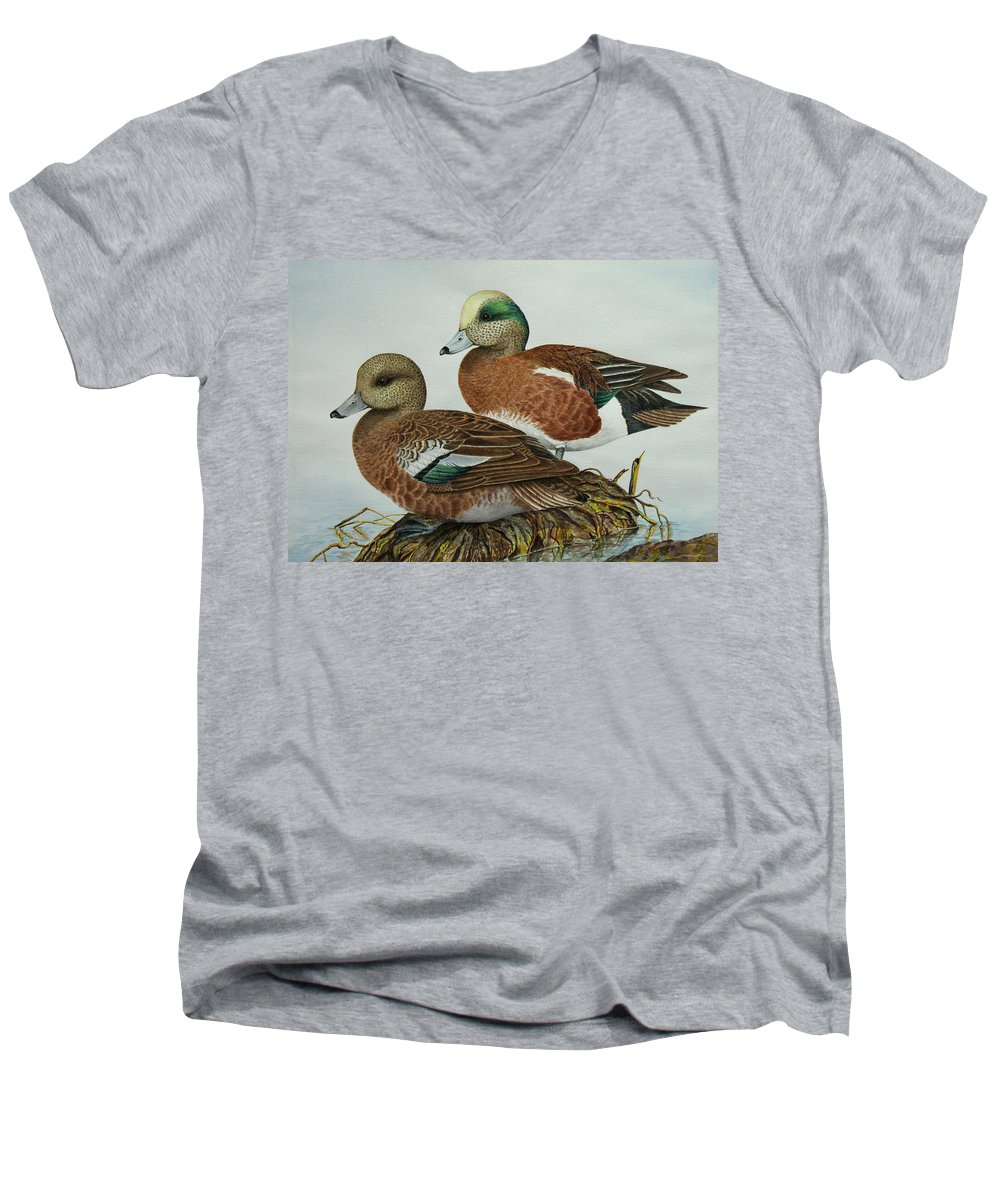 Ducks Men's V-Neck T-Shirt featuring the painting American Widgeons by Elaine Booth-Kallweit