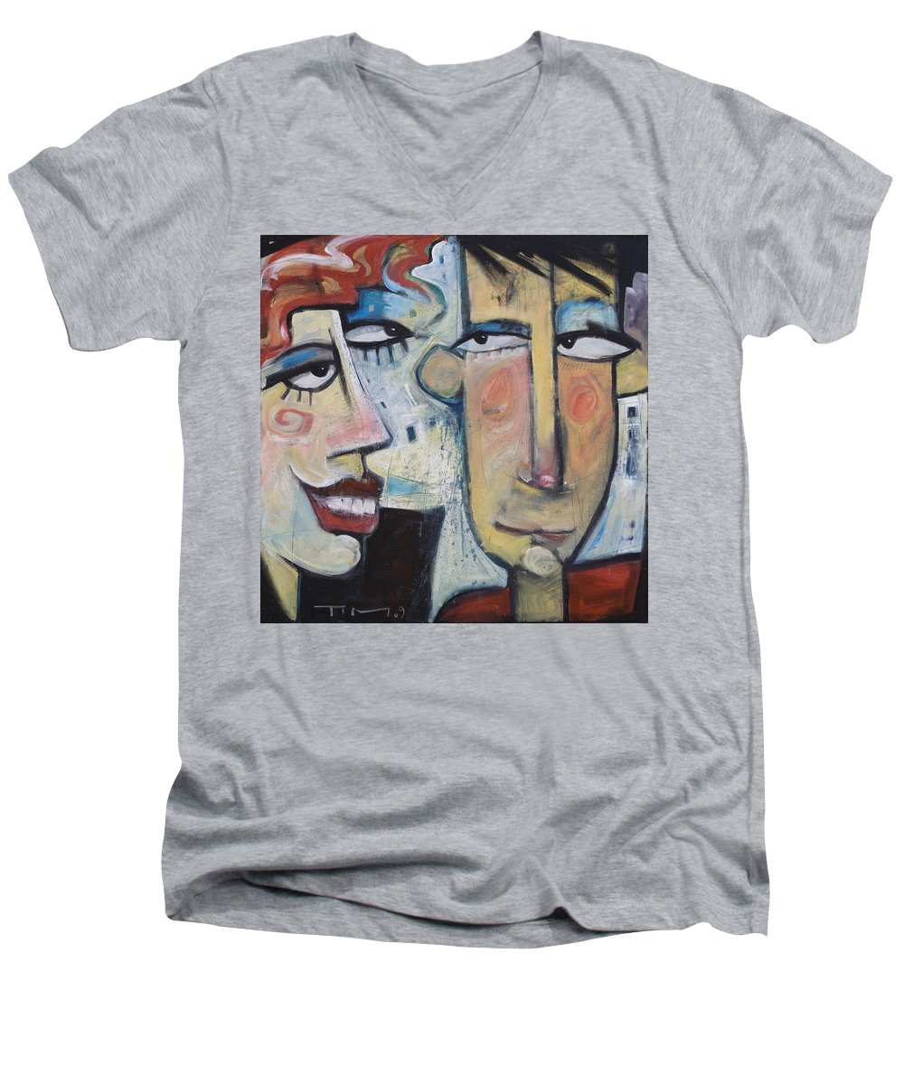 Man Men's V-Neck T-Shirt featuring the painting An Uncomfortable Attraction by Tim Nyberg