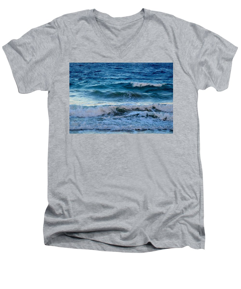 Sea Men's V-Neck T-Shirt featuring the photograph An Unforgiving Sea by Ian MacDonald