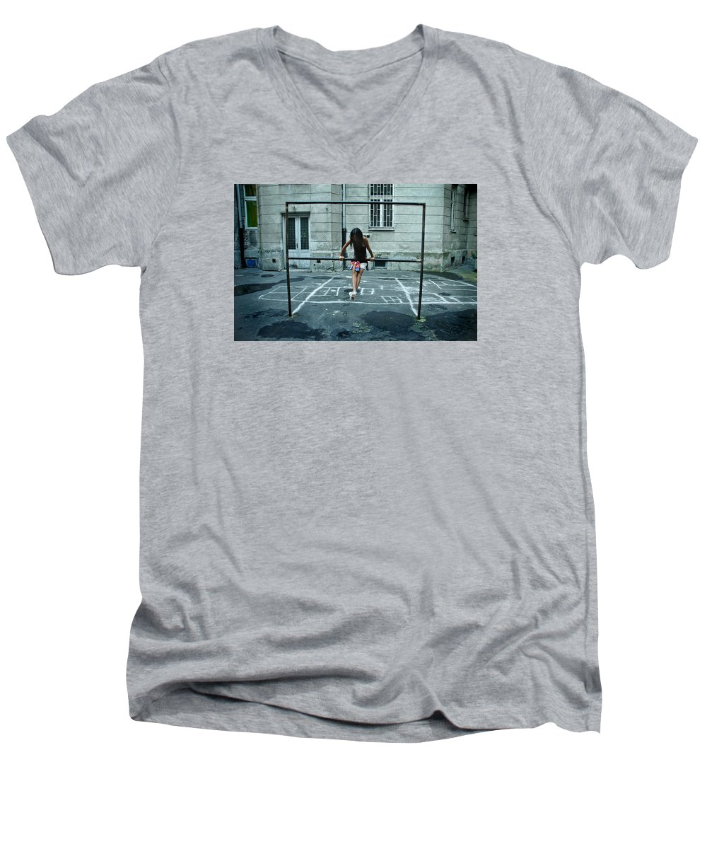 Children Men's V-Neck T-Shirt featuring the photograph Ana At The Barre by Michael Ziegler