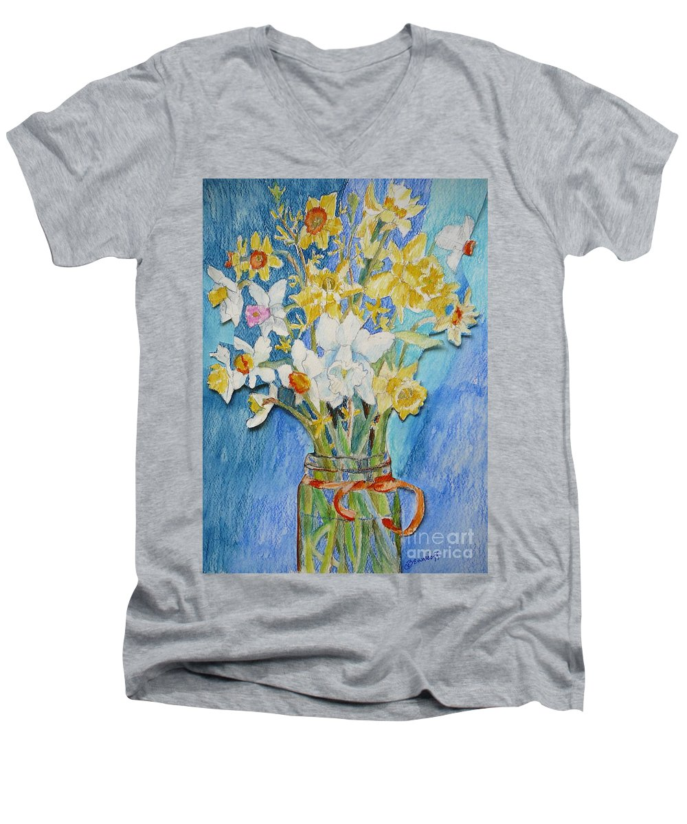 Flowers Men's V-Neck T-Shirt featuring the painting Angels Flowers by Jan Bennicoff