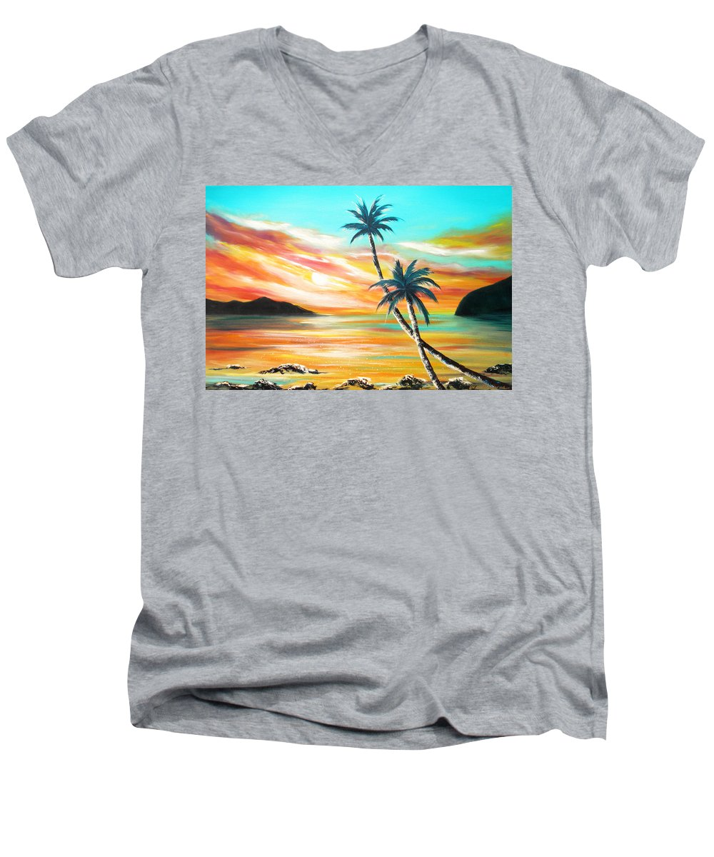 Sunset Men's V-Neck T-Shirt featuring the painting Another Sunset In Paradise by Gina De Gorna