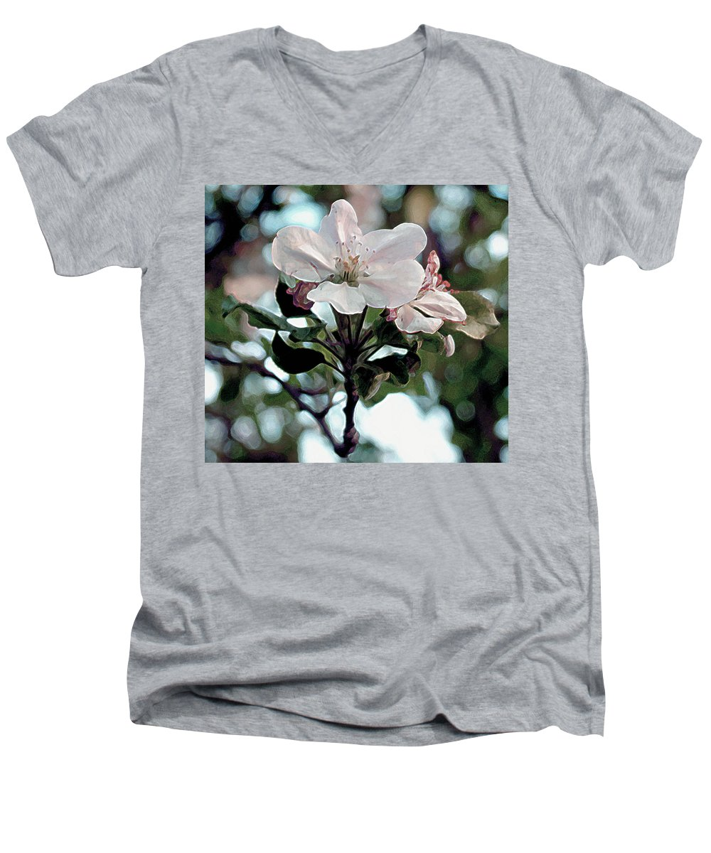 Flowers Men's V-Neck T-Shirt featuring the painting Apple Blossom Time by RC deWinter