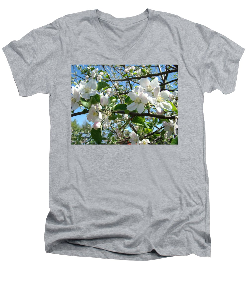 �blossoms Artwork� Men's V-Neck T-Shirt featuring the photograph Apple Blossoms Art Prints 60 Spring Apple Tree Blossoms Blue Sky Landscape by Baslee Troutman
