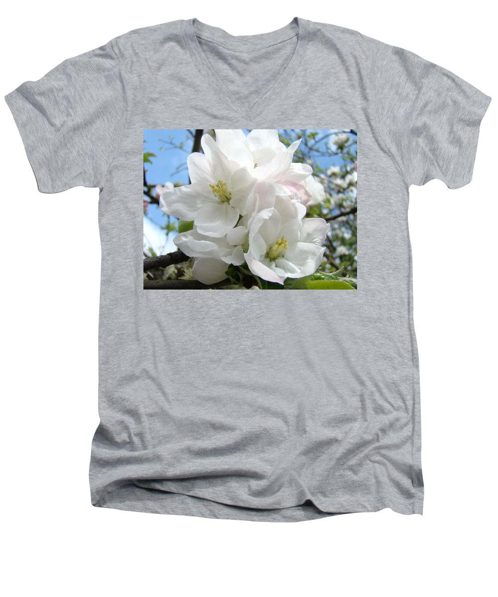 �blossoms Artwork� Men's V-Neck T-Shirt featuring the photograph Apple Blossoms Art Prints Giclee 48 Spring Apple Tree Blossoms Blue Sky Macro Flowers by Baslee Troutman