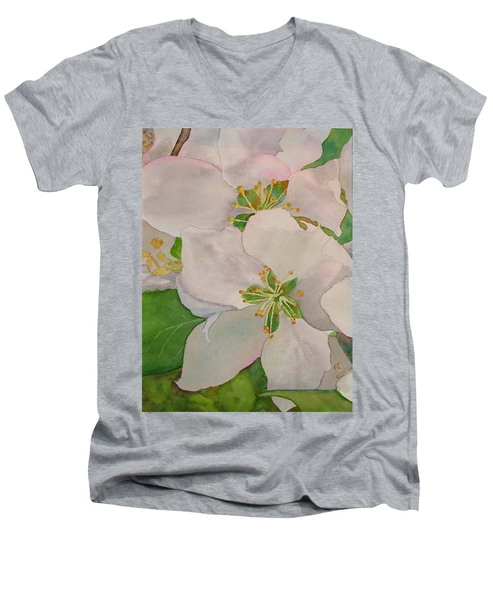 Apple Blossoms Men's V-Neck T-Shirt featuring the painting Apple Blossoms by Sharon E Allen
