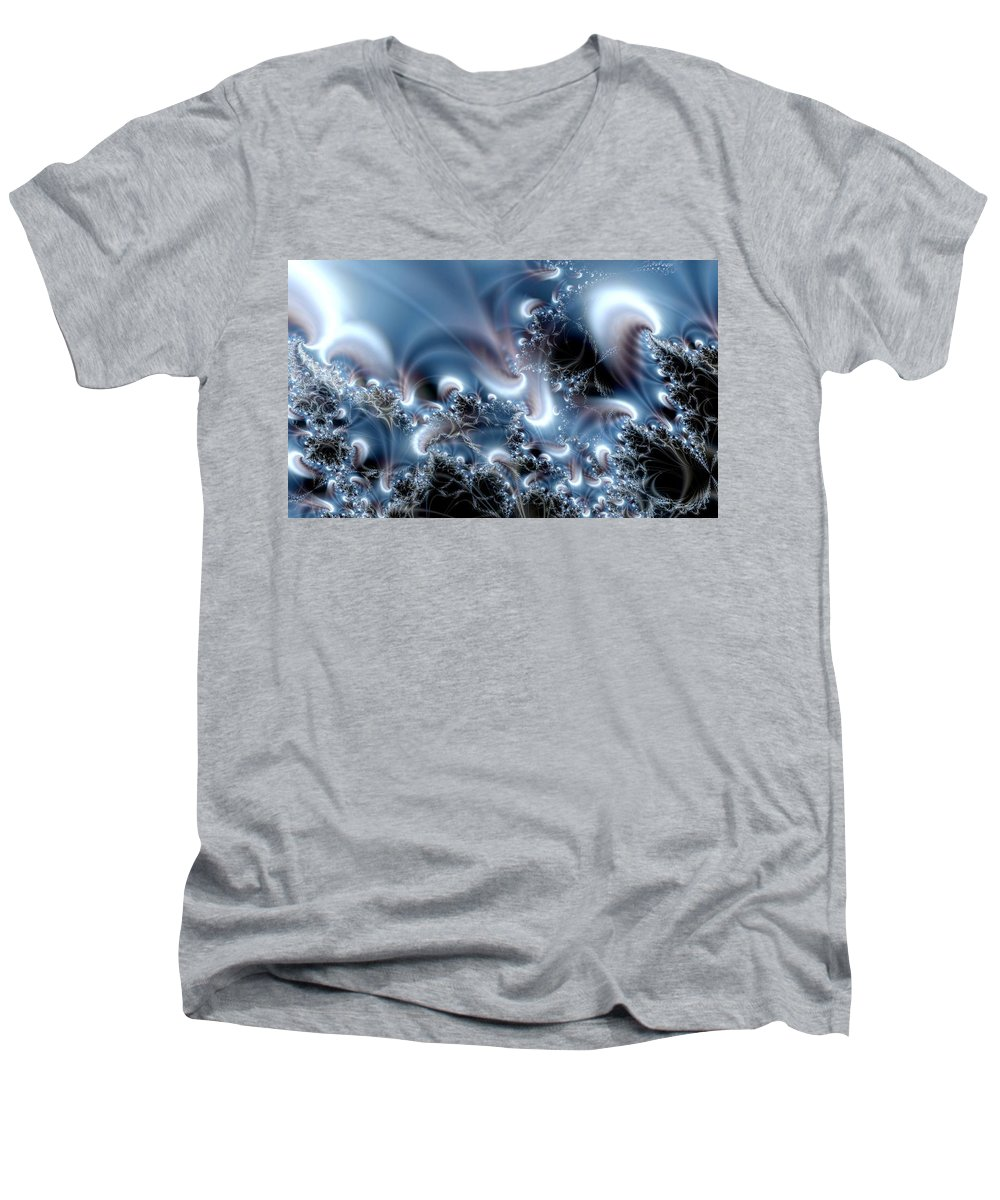 Water Bubbles Blue Nature Flow Men's V-Neck T-Shirt featuring the digital art Aquafractal by Veronica Jackson