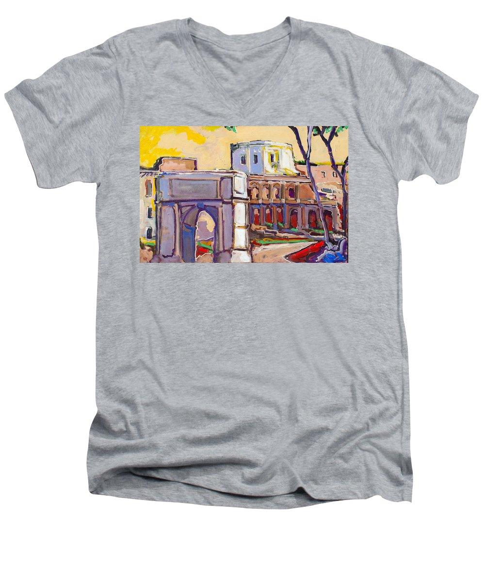 Rome Men's V-Neck T-Shirt featuring the painting Arco Di Romano by Kurt Hausmann