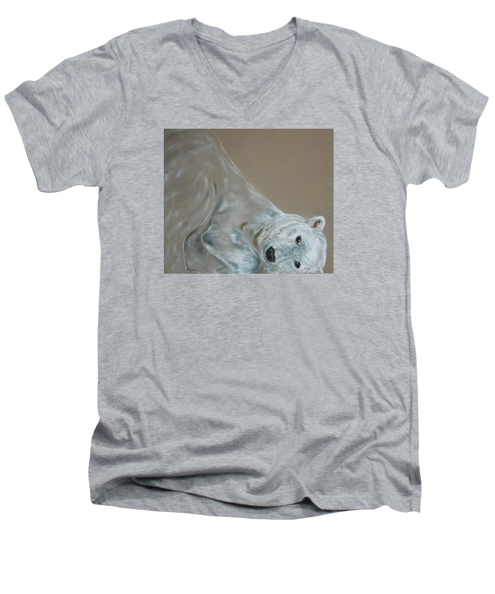 Polar Bear Men's V-Neck T-Shirt featuring the drawing Arctic Frolic by Cori Solomon