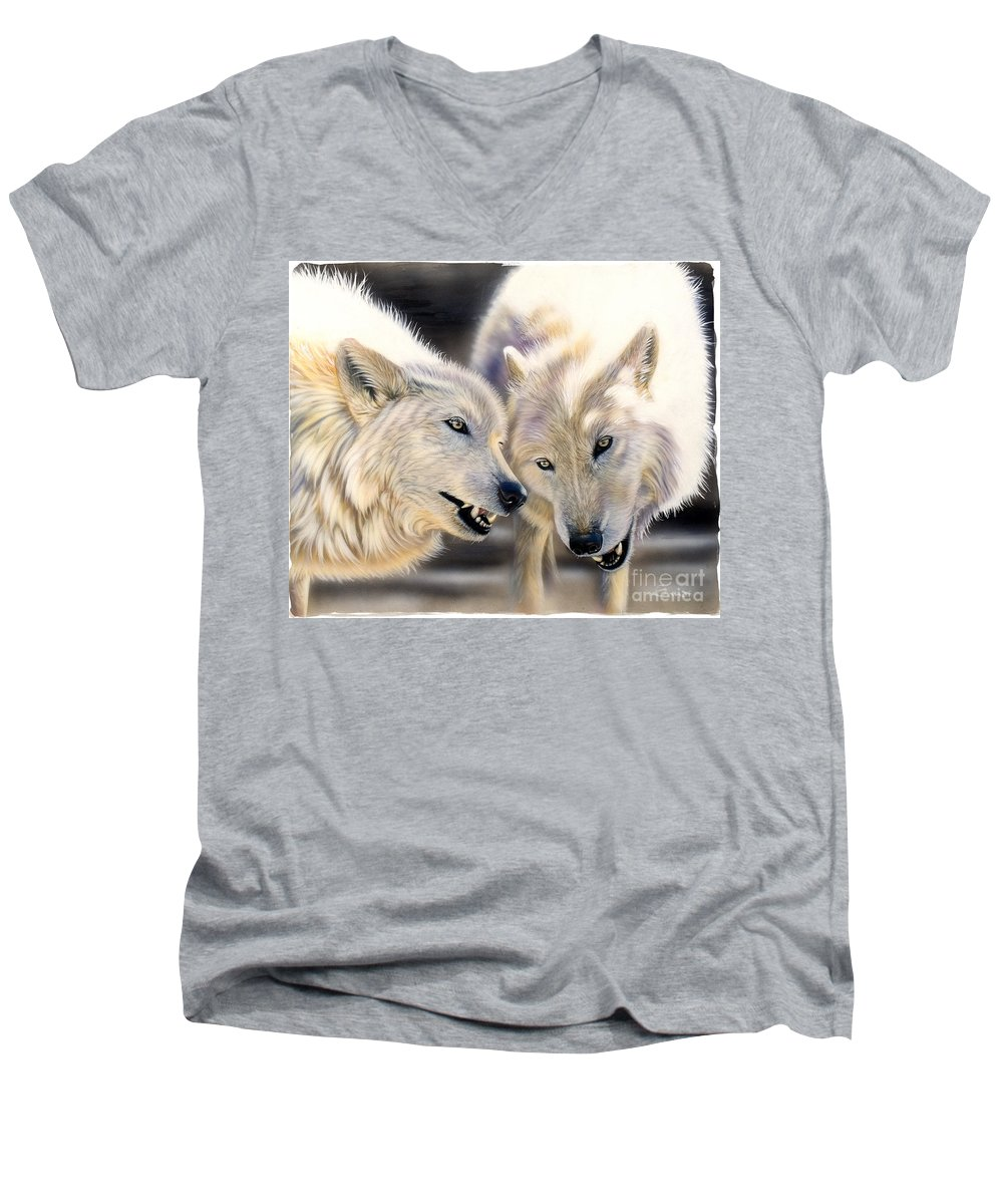 Acrylics Men's V-Neck T-Shirt featuring the painting Arctic Pair by Sandi Baker