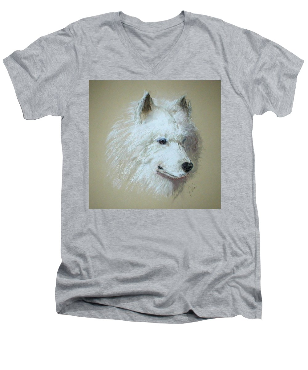 Dog Men's V-Neck T-Shirt featuring the drawing Arctic Serenity by Cori Solomon