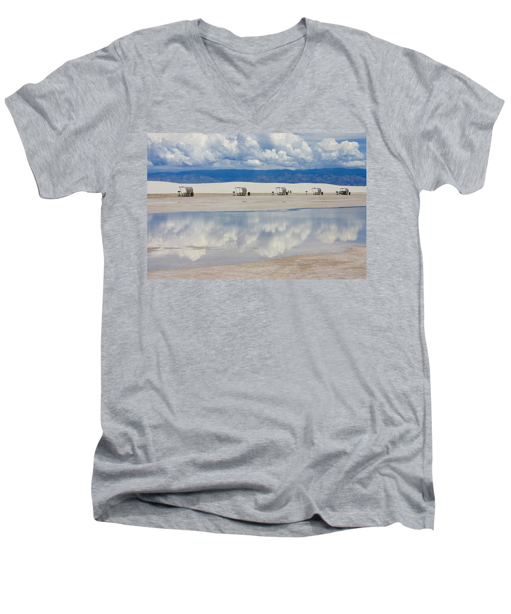 New Mexico Men's V-Neck T-Shirt featuring the photograph Armageddon Picnic by Skip Hunt