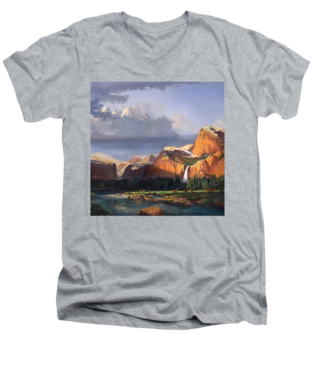American Men's V-Neck T-Shirt featuring the painting Deer Meadow Mountains Western Stream Deer Waterfall Landscape Oil Painting Stormy Sky Snow Scene by Walt Curlee