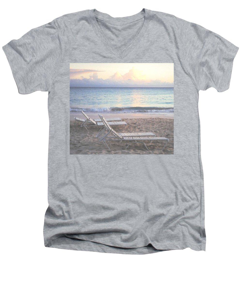 Aruba Men's V-Neck T-Shirt featuring the photograph Aruba Beach by Ian MacDonald