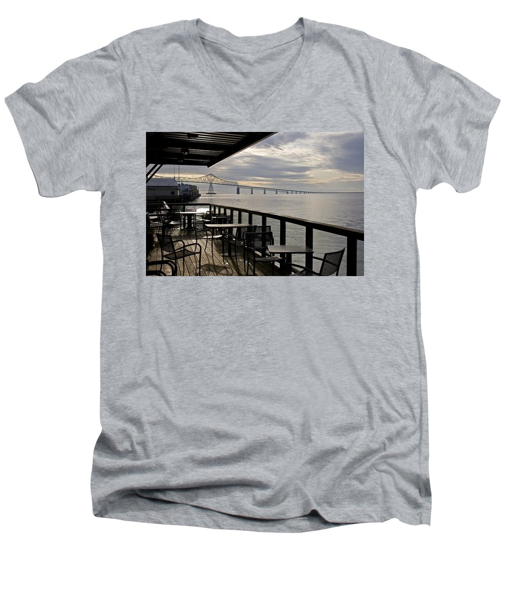 Scenic Men's V-Neck T-Shirt featuring the photograph Astoria by Lee Santa