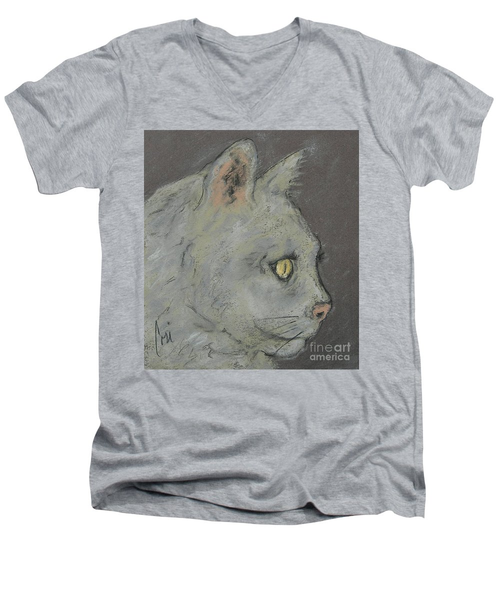 Pastels Men's V-Neck T-Shirt featuring the drawing At Peace by Cori Solomon