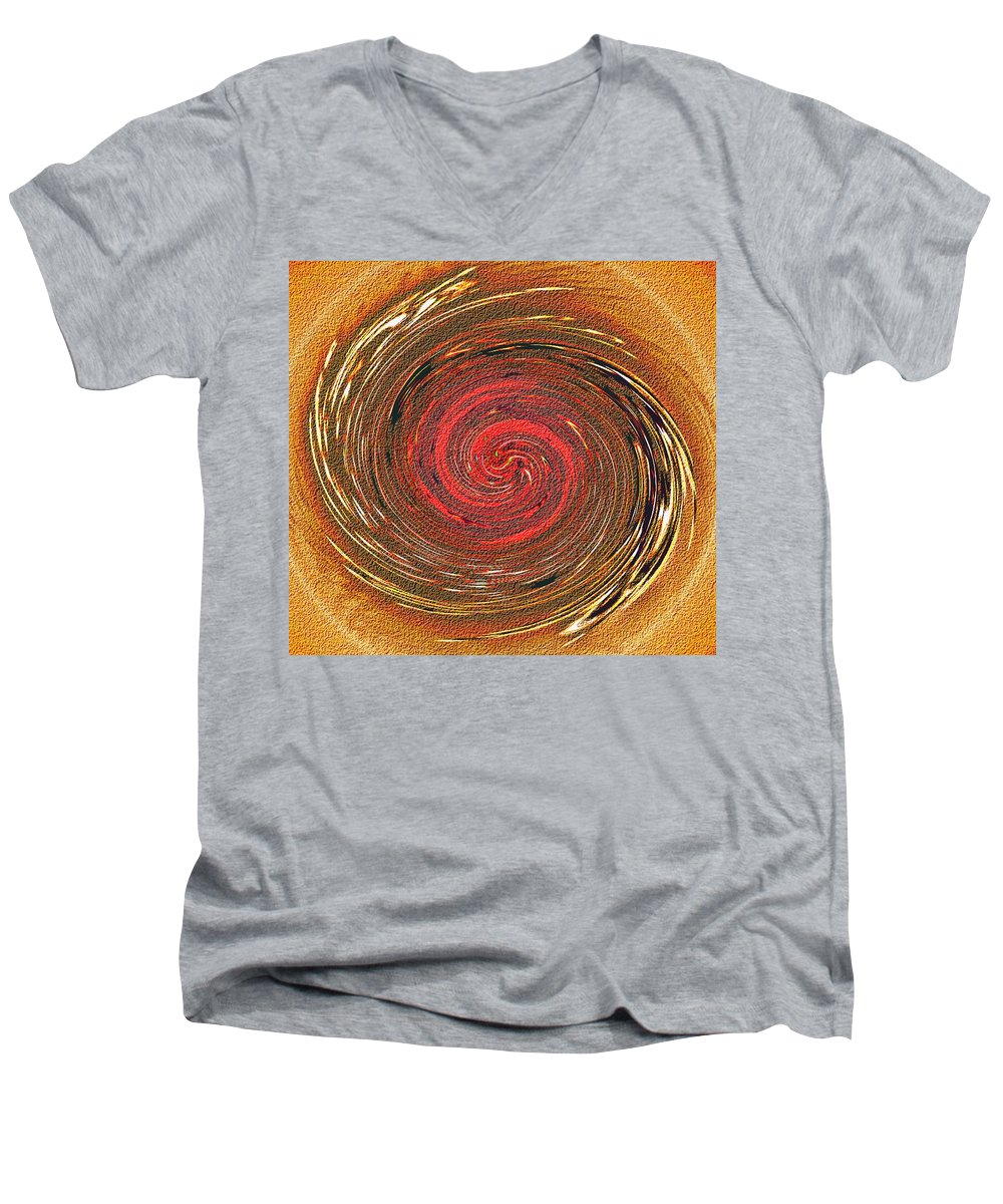 Abstract Men's V-Neck T-Shirt featuring the digital art Atlantean Fire by Don Quackenbush