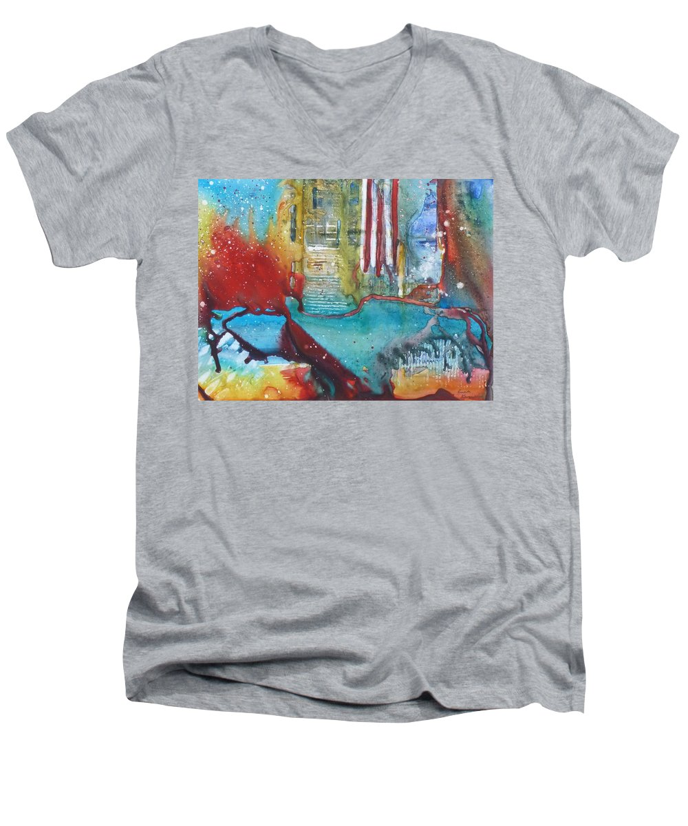Abstract Men's V-Neck T-Shirt featuring the painting Atlantis Crashing Into The Sea by Ruth Kamenev
