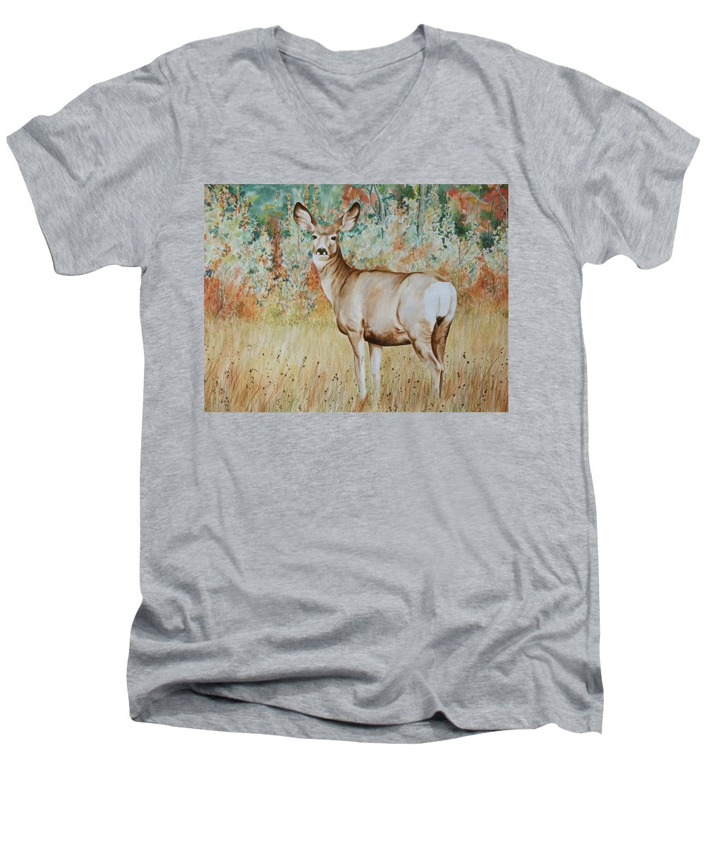 Wildlife Men's V-Neck T-Shirt featuring the painting Autumn Beauty- Mule Deer Doe by Elaine Booth-Kallweit