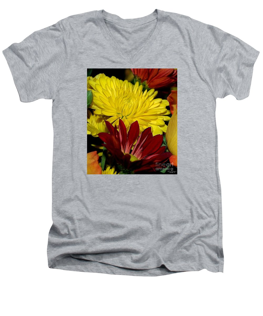 Chrysanthemum Photography Men's V-Neck T-Shirt featuring the photograph Autumn Colors by Patricia Griffin Brett