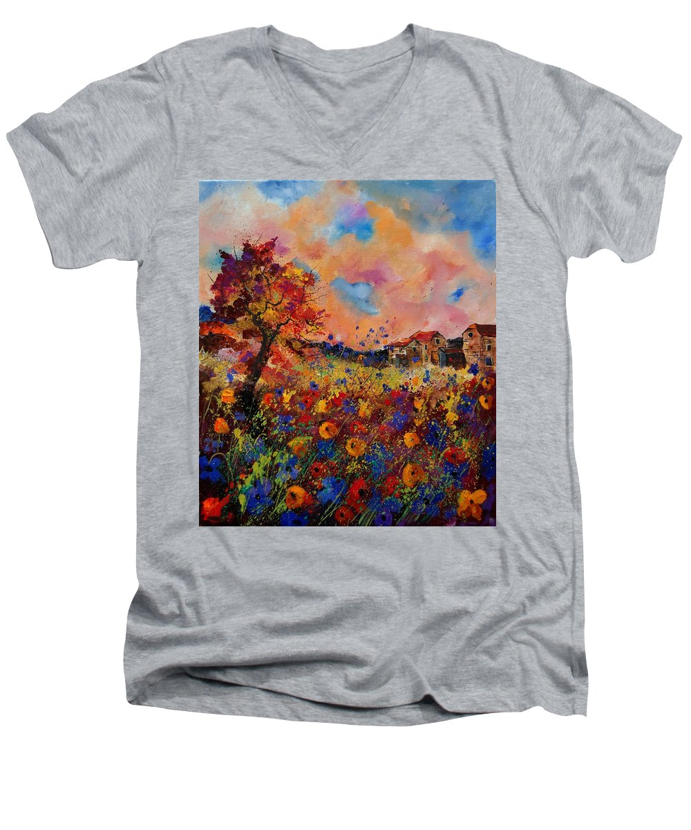 Poppies Men's V-Neck T-Shirt featuring the painting Autumn Colors by Pol Ledent