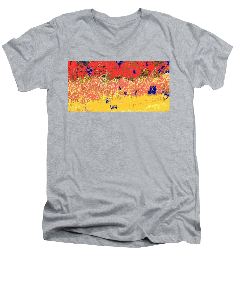 Autumn Men's V-Neck T-Shirt featuring the photograph Autumn Grasses by Ian MacDonald