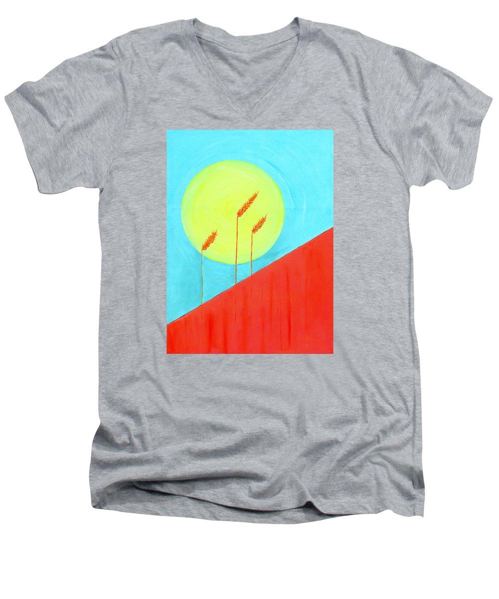 Landscape Men's V-Neck T-Shirt featuring the painting Autumn Harvest by J R Seymour
