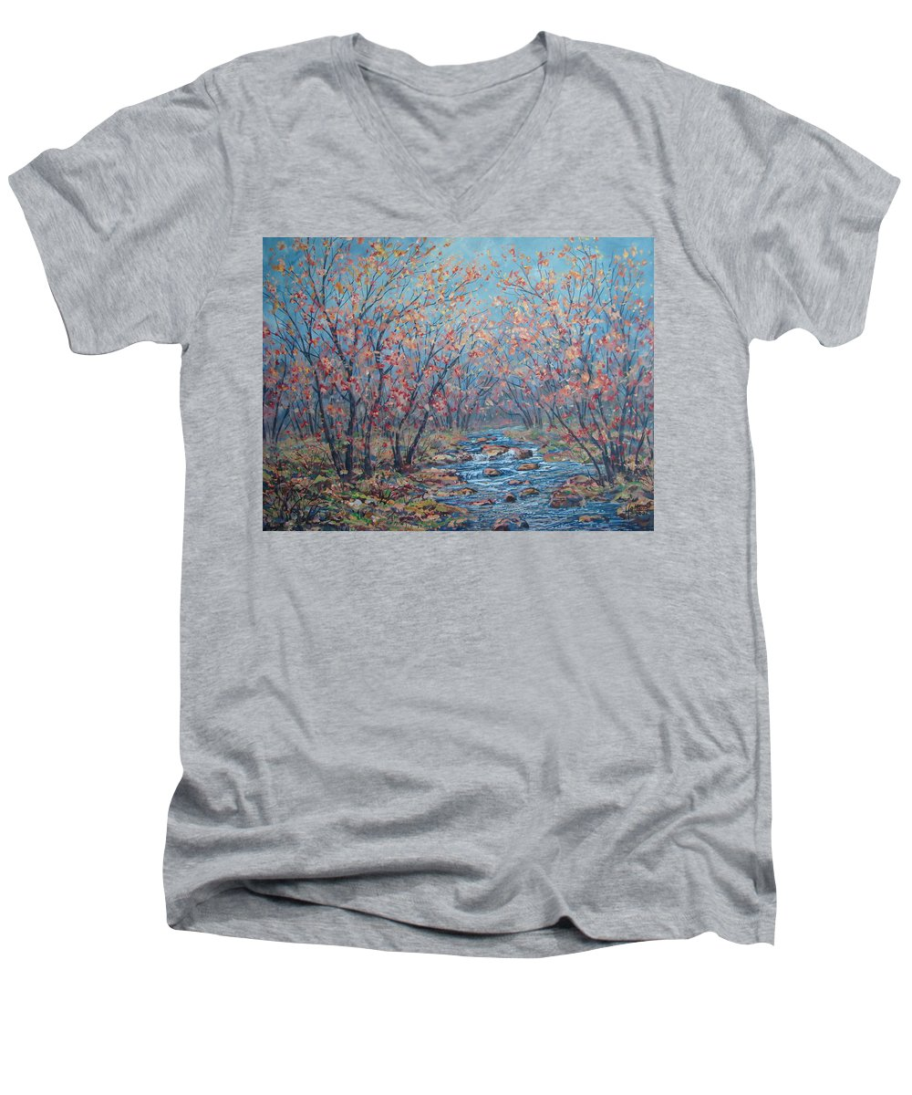 Landscape Men's V-Neck T-Shirt featuring the painting Autumn Serenity by Leonard Holland