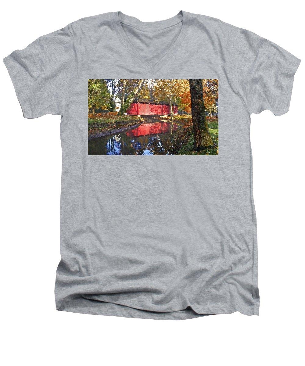 Covered Bridge Men's V-Neck T-Shirt featuring the photograph Autumn Sunrise Bridge by Margie Wildblood