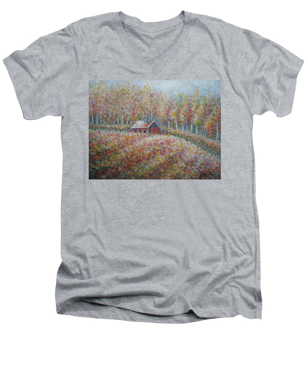 Landscape Men's V-Neck T-Shirt featuring the painting Autumn Whisper. by Natalie Holland