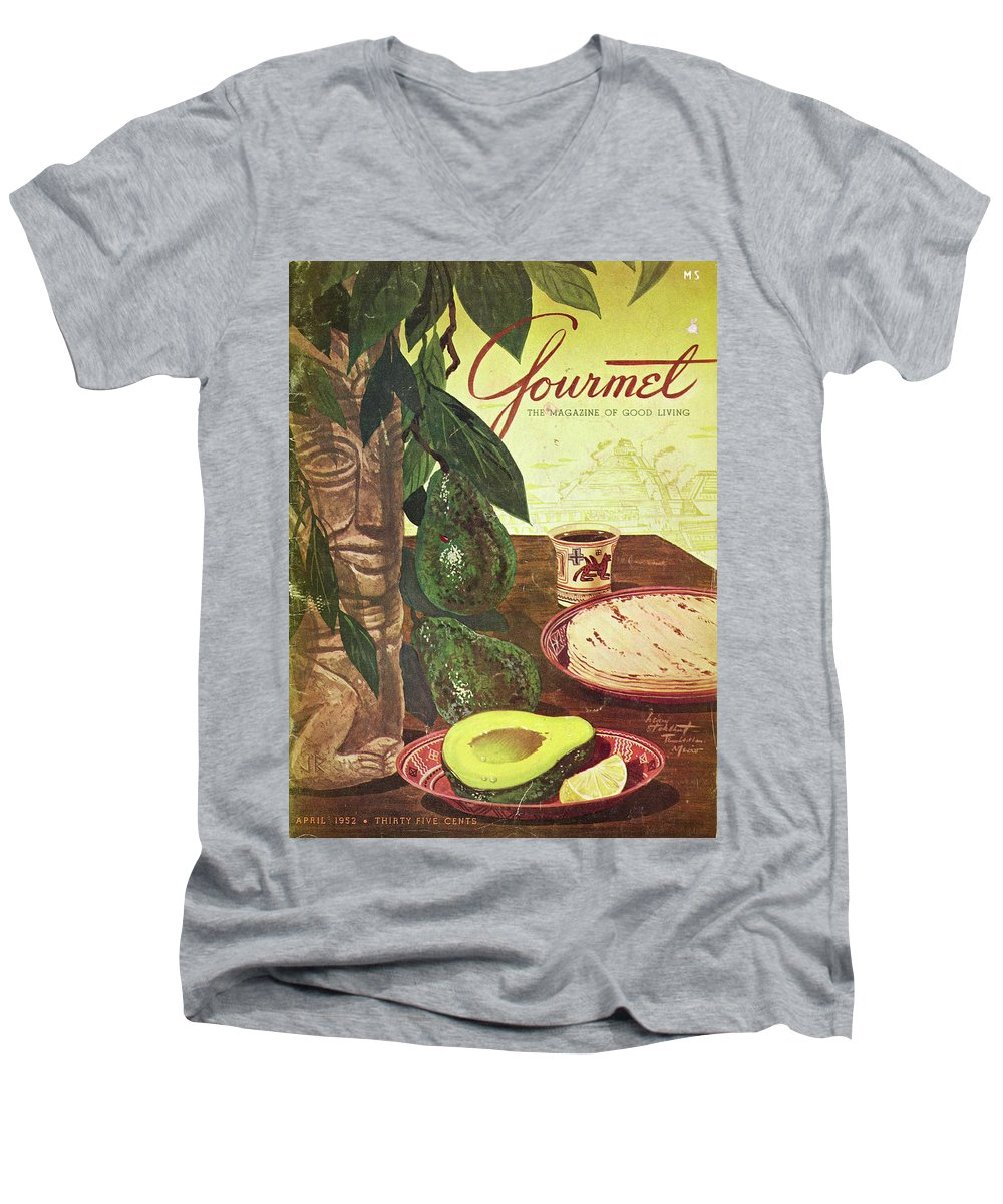 Food Men's V-Neck T-Shirt featuring the photograph Avocado And Tortillas by Henry Stahlhut