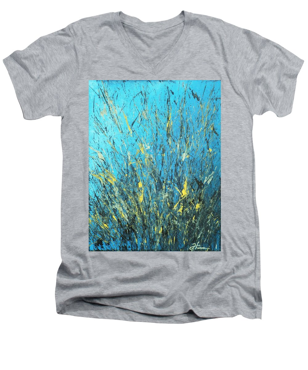 Splash Men's V-Neck T-Shirt featuring the painting Awakening by Todd Hoover