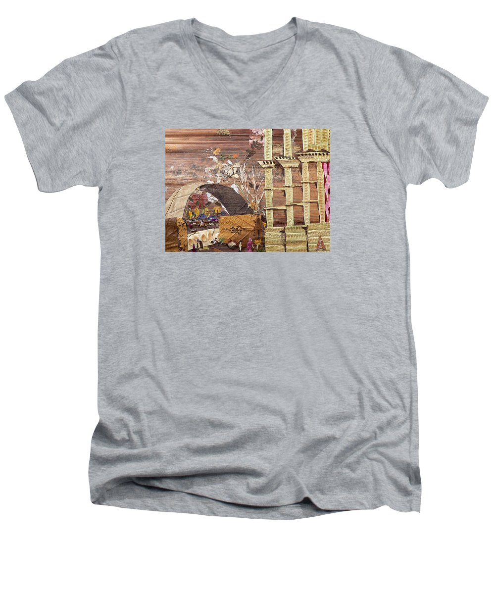 Back Door Entry For Relief To Disabled Men's V-Neck T-Shirt featuring the mixed media Back Entry by Basant soni