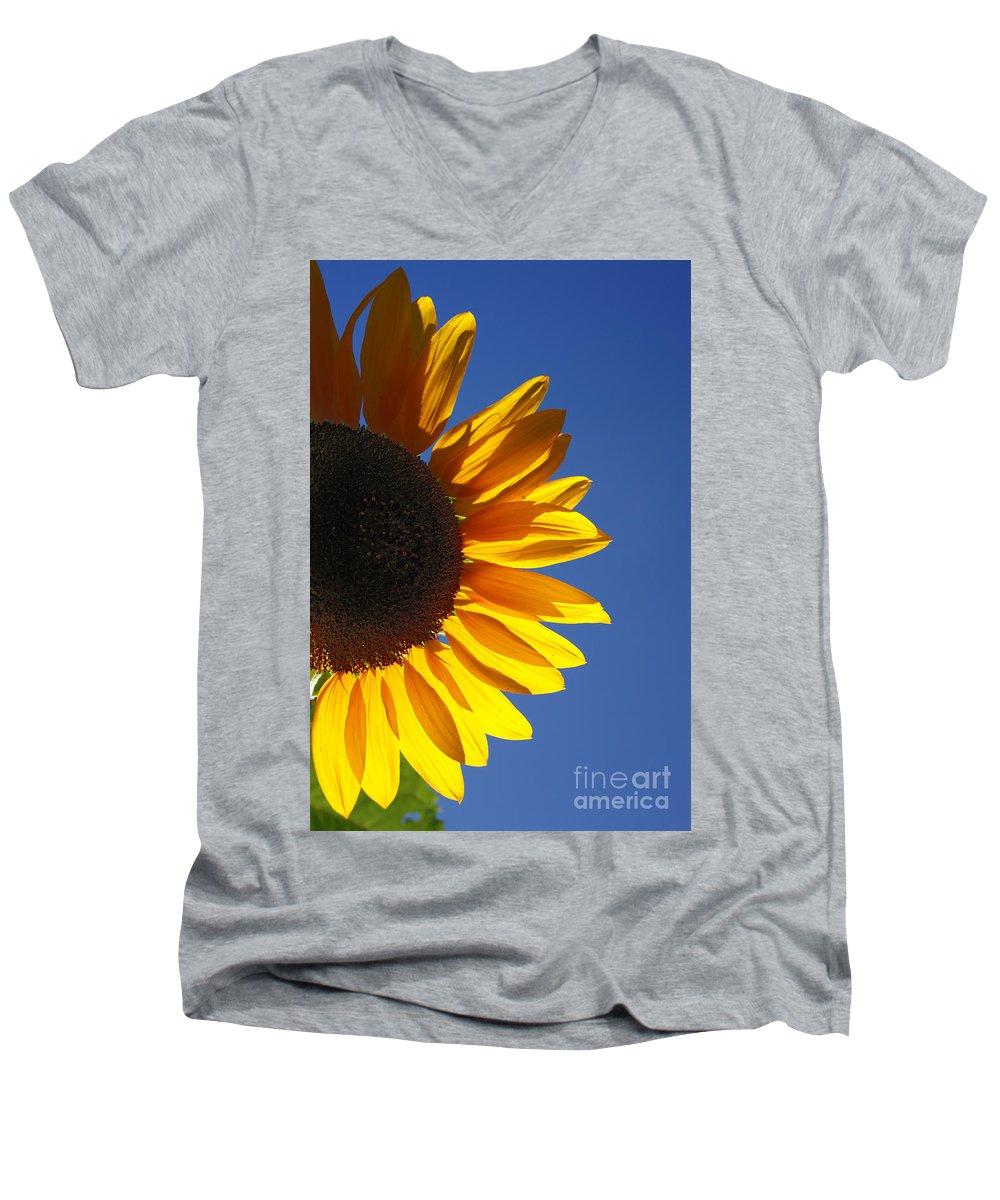 Back Light Men's V-Neck T-Shirt featuring the photograph Backlit Sunflower by Gaspar Avila