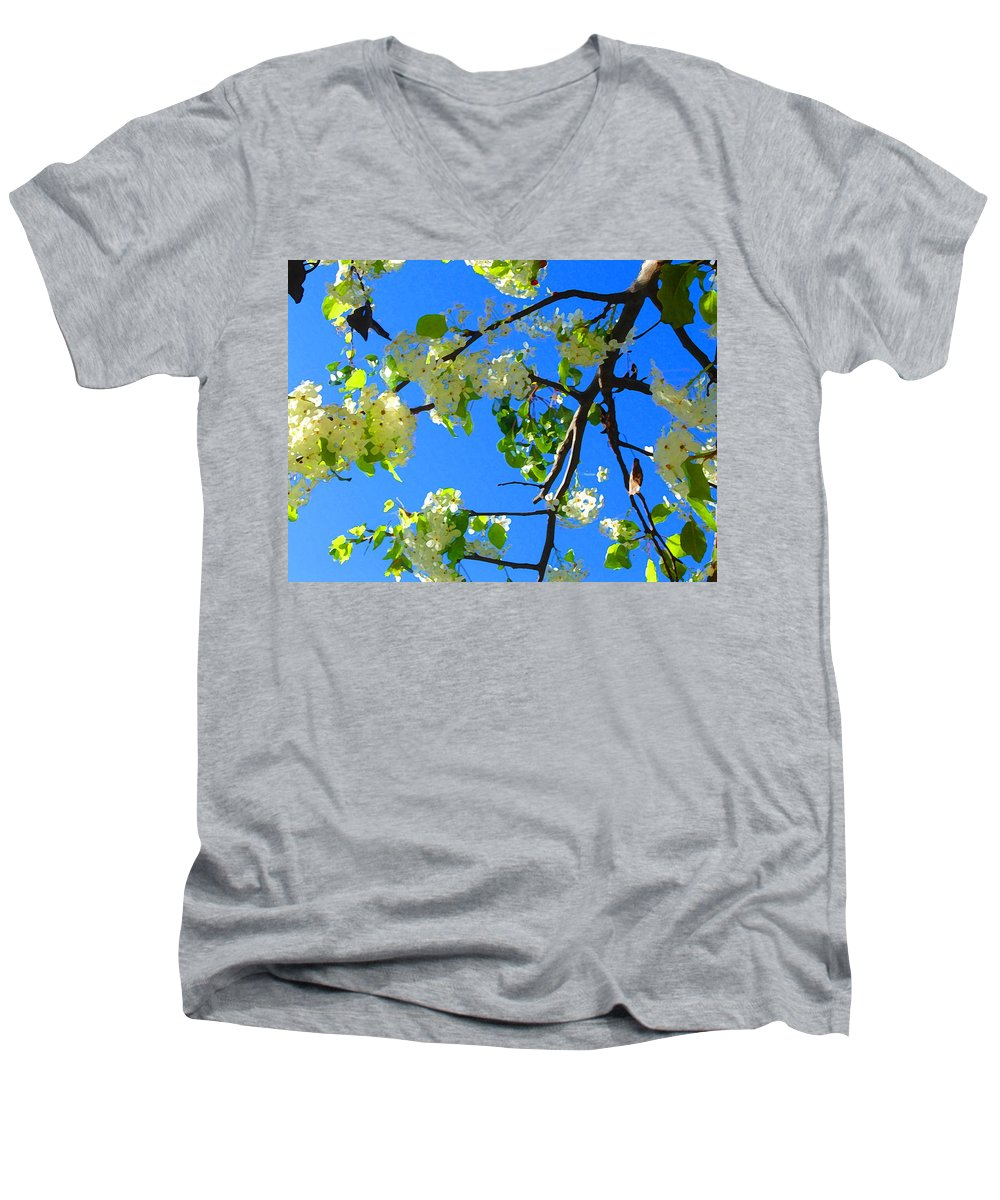 Tree Blossoms Men's V-Neck T-Shirt featuring the painting Backlit White Tree Blossoms by Amy Vangsgard