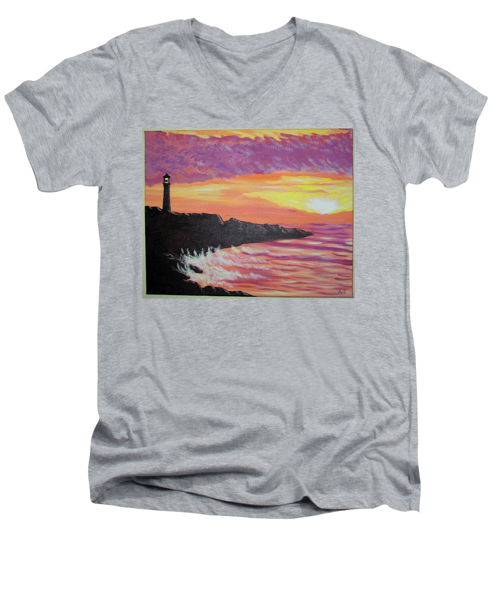 Seascape Men's V-Neck T-Shirt featuring the painting Bahia At Sunset by Marco Morales