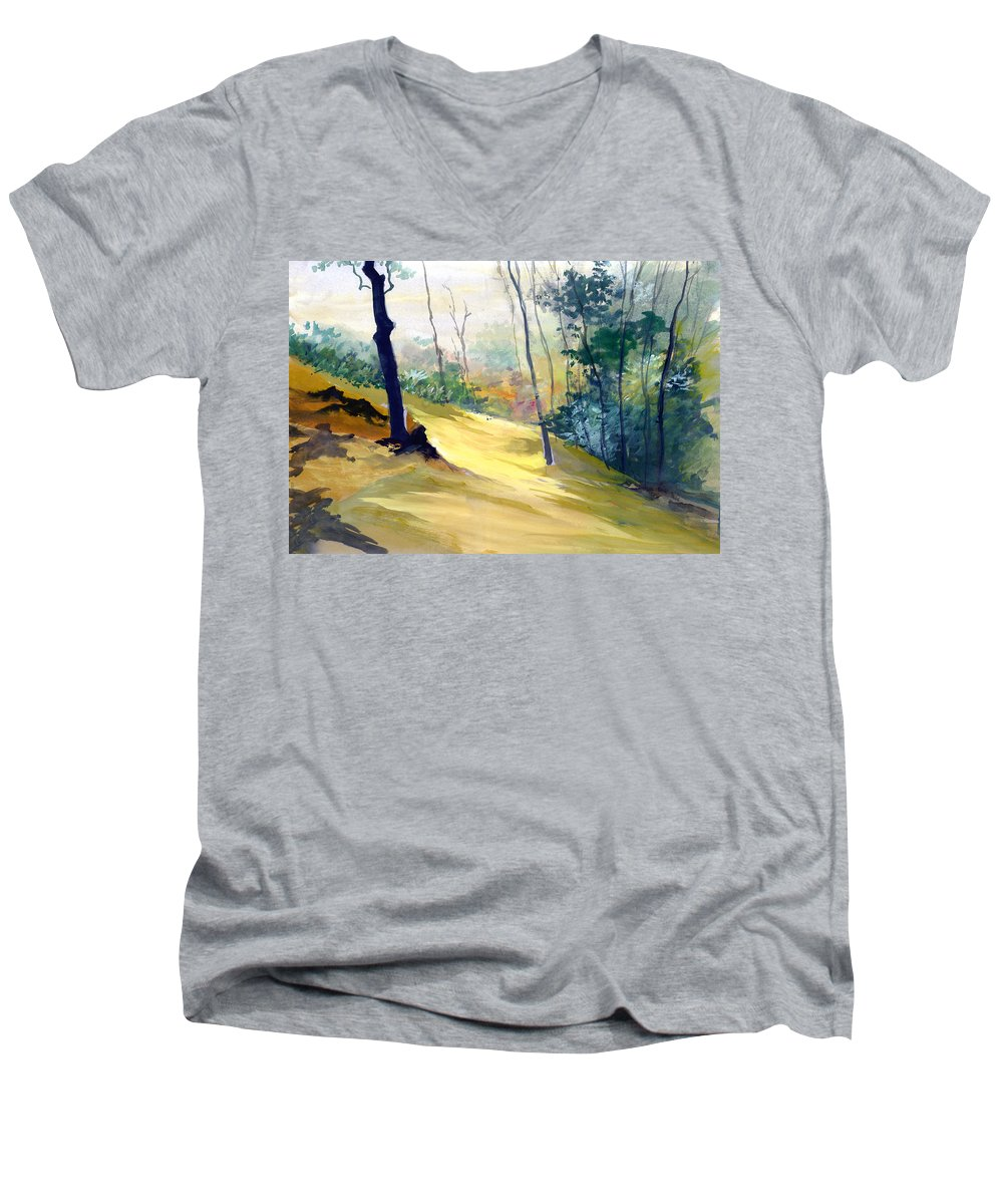 Landscape Men's V-Neck T-Shirt featuring the painting Balance by Anil Nene
