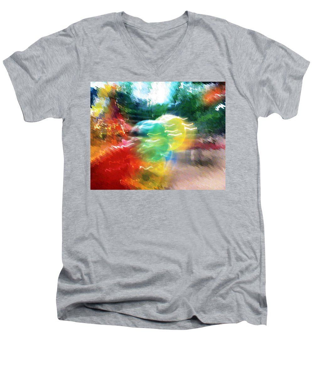 Baloons Men's V-Neck T-Shirt featuring the painting Baloons N Lights by Anil Nene