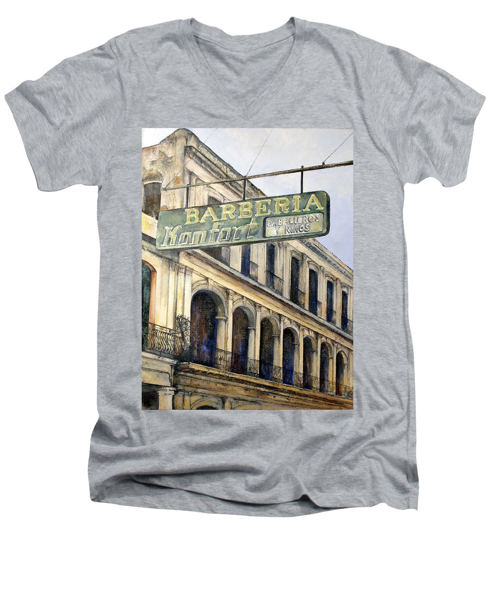 Konfort Barberia Old Havana Cuba Oil Painting Art Urban Cityscape Men's V-Neck T-Shirt featuring the painting Barberia Konfort by Tomas Castano
