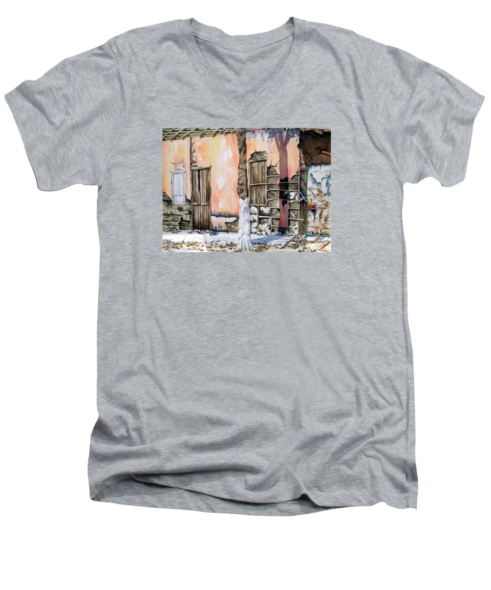 Lanscape Men's V-Neck T-Shirt featuring the painting Bareque II by Tatiana Escobar