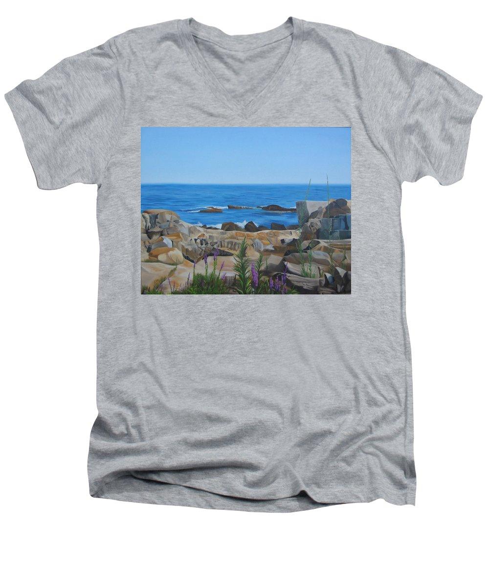 Seascape Men's V-Neck T-Shirt featuring the painting Bass Rocks Gloucester by Lea Novak