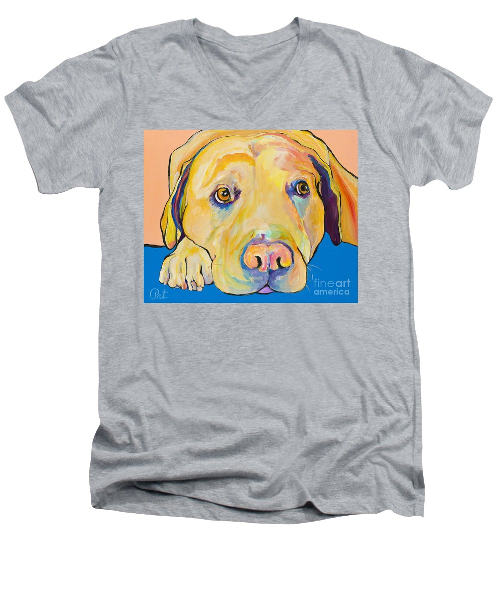 Dog Paintings Yellow Lab Puppy Colorful Animals Pets Men's V-Neck T-Shirt featuring the painting Bath Time by Pat Saunders-White