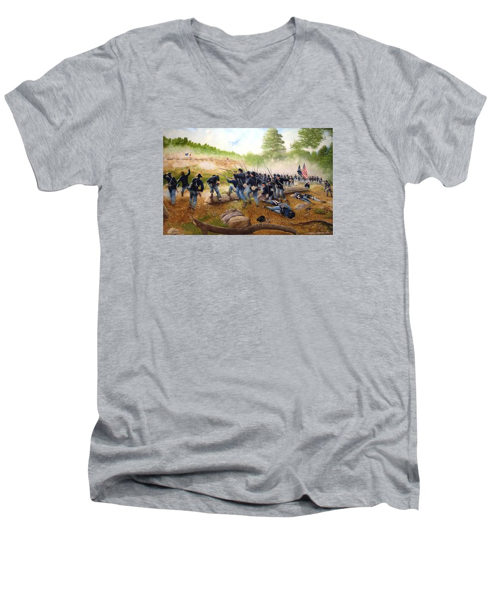 Civil War Men's V-Neck T-Shirt featuring the painting Battle Of Utoy Creek by Marc Stewart