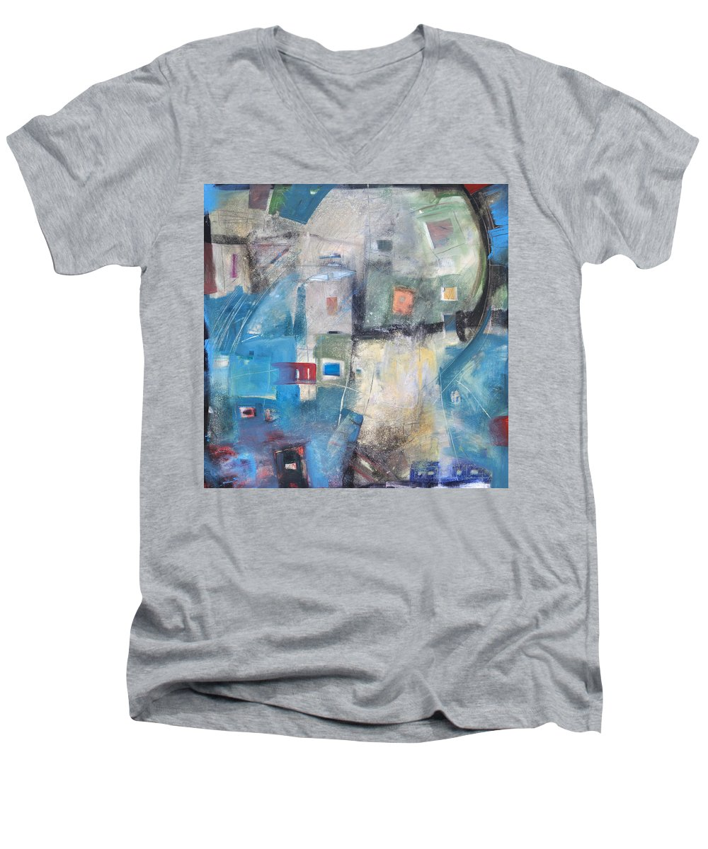 Abstract Men's V-Neck T-Shirt featuring the painting Bayer Works Wonders by Tim Nyberg