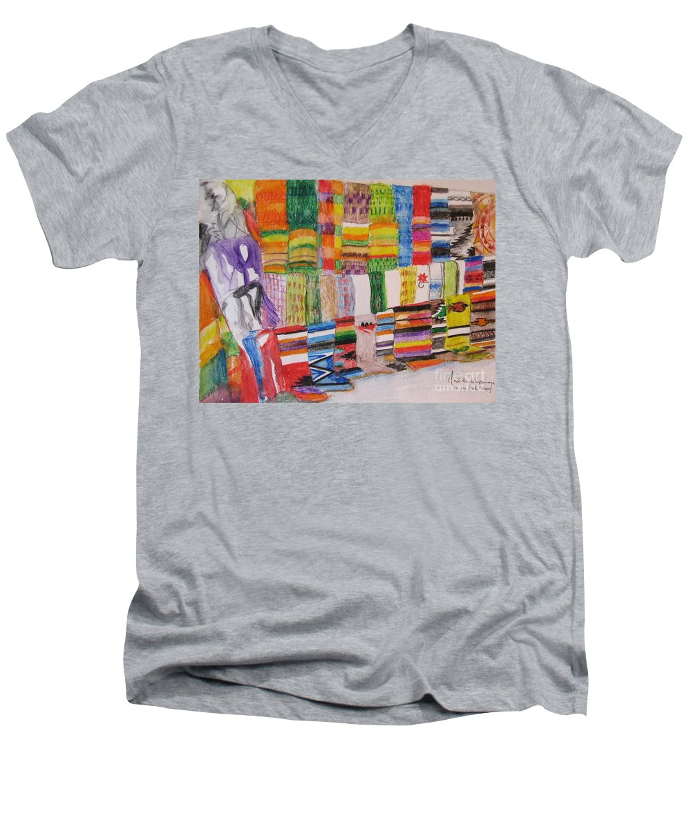 Bright Colors Men's V-Neck T-Shirt featuring the painting Bazaar Sabado - Gifted by Judith Espinoza